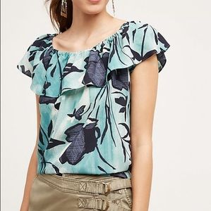 Anthropologie Maeve Off the Shoulder Floral Top S